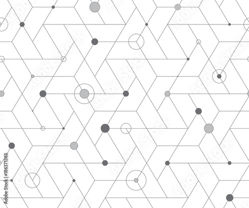 Geometric cubic grid seamless pattern - 186371363