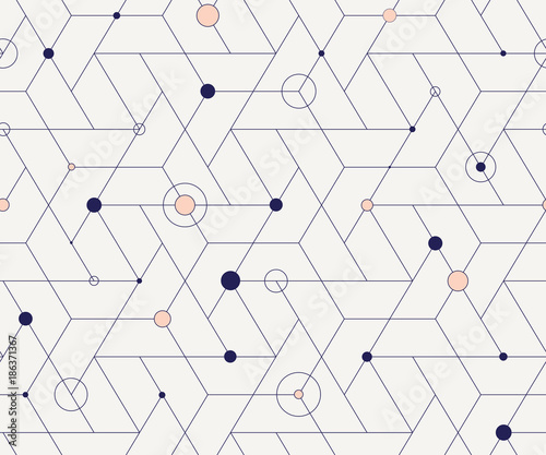 Geometric cubic grid seamless pattern - 186371367