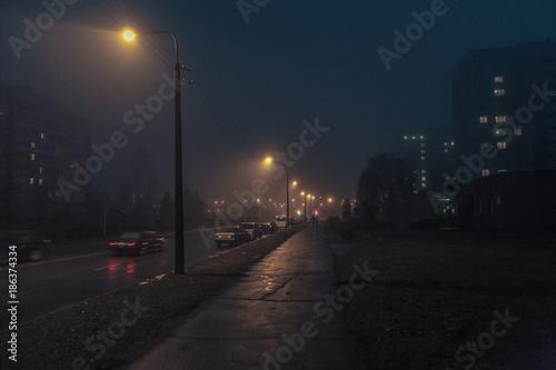 Foto op Canvas Nacht snelweg The night street scene. Minsk. Belarus.