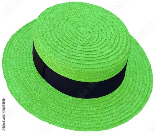 chapeau de paille vert , canotier Maurice Chevalier, fond blanc  - 186374948