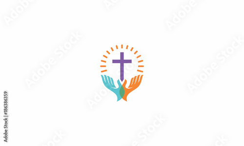 church, christian, catholic, cross, shine, blessing, scarf, fire, ship, screen, emblem symbol icon vector logo - 186386359