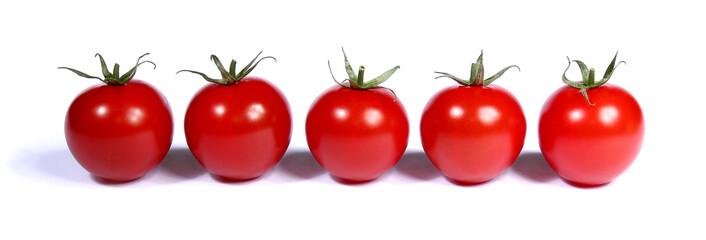 Tomates sur fond blanc. Bannière