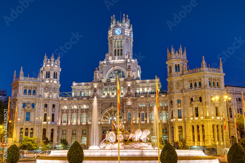 Foto op Canvas Madrid Plaza de Cibeles in Madrid with the Palace of Communication at night
