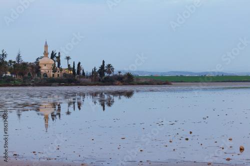 Fotobehang Cyprus Hala Sultan Tekke on Larnaca salt-lake in Cyprus- landscape