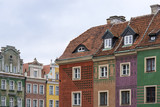 Colorful tenement houses in historic main square of Poznań, Poland