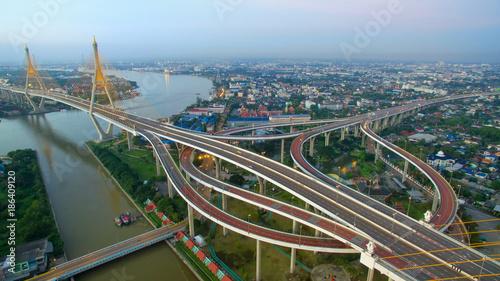 Aluminium Thailand aerial view of bhumibol bridge crossing chaopraya river in bangkok thailand
