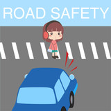 Road Safety Illustration Vector with character - 186409394
