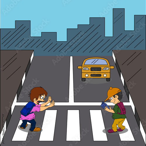 Aluminium Auto Road Safety Illustration Vector with character