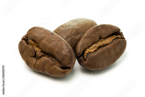 Coffee beans isolated on a white background - 186418791