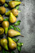 Ripe pears with leaves.