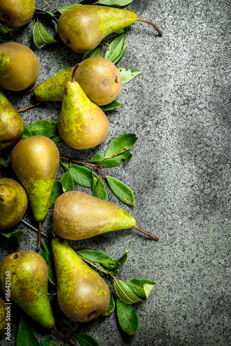 Ripe pears with leaves. - 186421361
