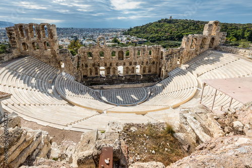 Fotobehang Athene Ruins of Odeon of Herodes Atticus in the Acropolis of Athens, Attica, Greece