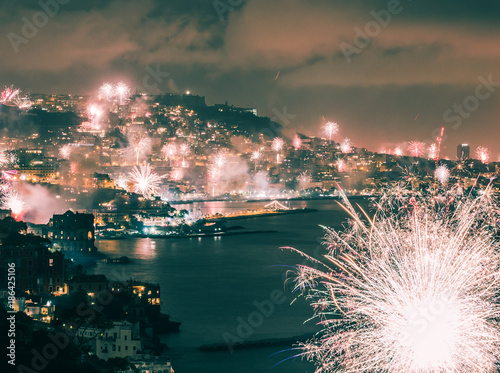 Fotobehang Napels 2018 New Year's Celebrations, Fireworks in Naples, Italy