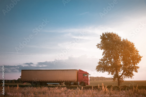 Fototapeta truck on the road freight transportation