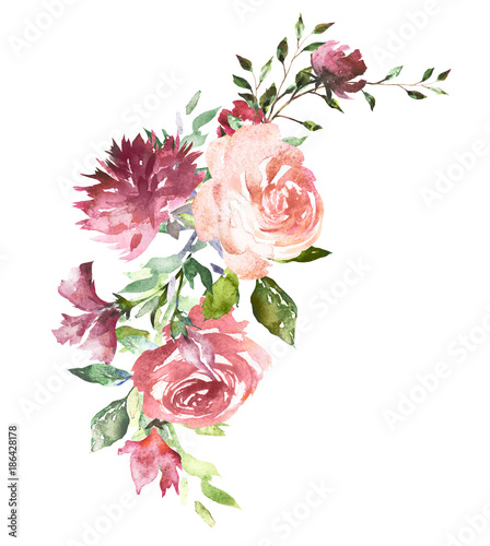 Watercolor flowers. Hand painted floral illustration. Bouquet of flowers pink rose, leaves and buds. Design arrangement for textile or greeting card. Abstraction  branch of flowers