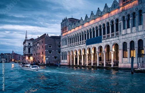 Foto op Canvas Snelle auto s Grand Canal at night in Venice, Italy