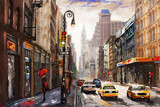 oil painting on canvas, street view of New York, man and woman, yellow taxi,  modern Artwork,  American city, illustration New York - 186429539