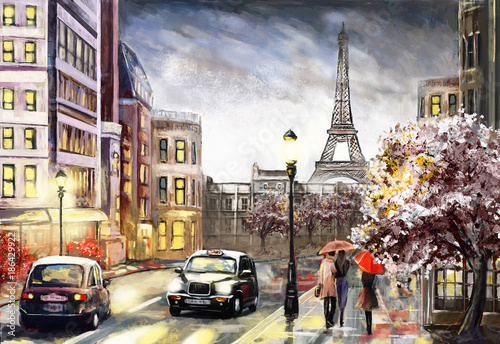 oil painting on canvas, street view of Paris. Artwork. eiffel tower . people under a red umbrella. Tree. France - 186429922