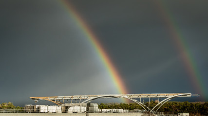 Beautiful rainbow from a roof of Synchrotron Facility in Trieste, Italy