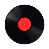 vinyl record detail with copy space isolated over white - 186438994