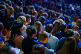 People attend business conference in the congress hall - 186439305