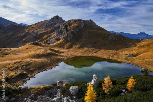 Foto op Canvas Bergen Small lake under Passo Valparola, Dolomites, Italy