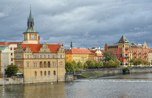 Foto op Aluminium Praag Prague, Czech Republic - October 10, 2017: View on ancient Old Town Water Tower and Vltava river, Prague, Czech Republic. Staromestska vodarna.