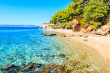 Idyllic beach on coast of Brac island near Bol town, Brac island, Croatia - 186458322