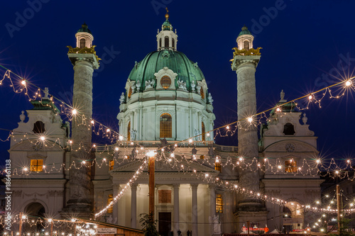 Vienna, Austria, Christmas market in front of the St Carl Church (Karlskirche in German) - 186461138