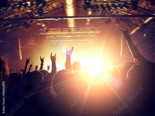 Foto Murales Concert venue crowded with ecstatic fans clapping in front of a stage