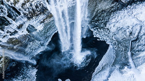Aerial photo of the Seljalandsfoss waterfall in winter - 186464500