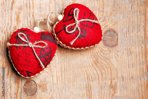 Valentine's day red hearts. Happy Valentine's day red hearts on wooden background