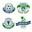 Soccer ball and trophy icon for football sport bar