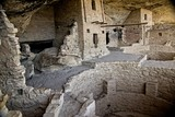 Ancient ruins are all that remain of the Anasazi Puebloan people that once lived at Cliff House at Mesa Verde, Colorado. - 186473913