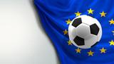 soccer football ball front of european flag. Europe ball. 3d rendering - 186476393