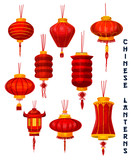 Chinese New Year red paper lanterns - 186477170