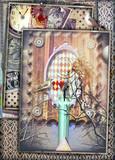 Finestre su un mare surreale con candela,chiave d'oro,orologio e uccelli.