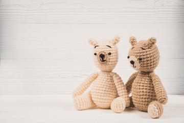 Couple teddy bear with red heart crochet knitting handmade, love and valentine concept idea.