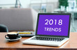 Laptop computer with 2018 trends on screen background, digital marketing, business and technology concept