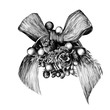 Christmas bow decorated with berries sketch vector graphics monochrome drawing