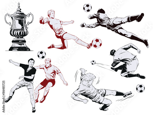 Set of football players. Stock illustration. - 186485725