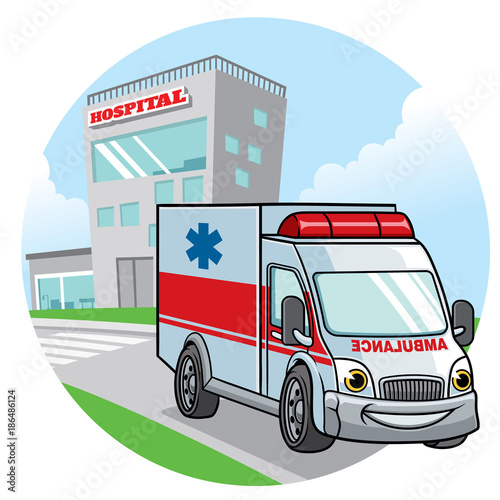 Plexiglas Auto cartoon ambulance car illustration