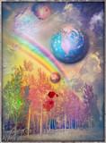 Bosco delle favole,incantato e surreale con arcobaleno