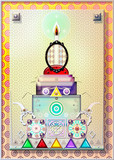 Cartolina con composizione psichedelica,bizzarra,geometrica e metafisica