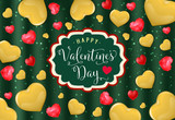 Happy Valentines Day Lettering with Hearts - 186489330