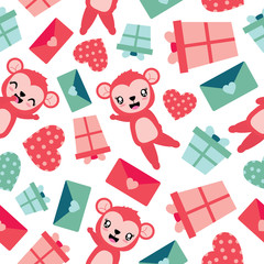 Seamless pattern of cute monkey and Valentine elements vector cartoon illustration for Valentine wrapping paper, kid fabric clothes, and wallpaper