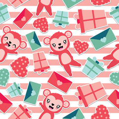 Seamless pattern of cute monkey and Valentine elements on striped background vector cartoon illustration for Valentine wrapping paper, kid fabric clothes, and wallpaper