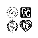 Wedding monogram logo collection. Vector illustration. - 186491760