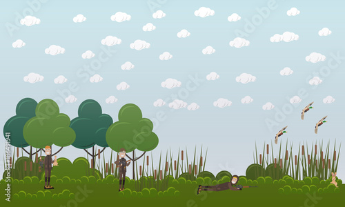 Duck hunting vector flat illustration - 186491941