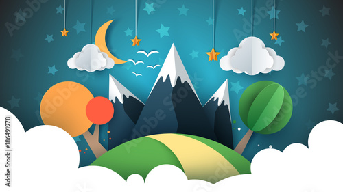 Tuinposter Groen blauw Paper travel illustration sun, cloud, hill, mountain, bird.